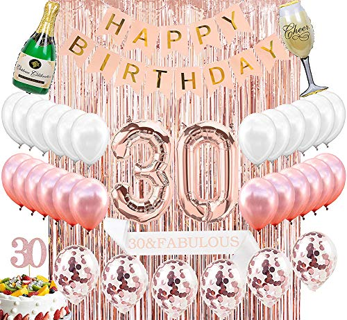 Sllyfo 30th Birthday Decorations Party Supplies Kit - 30th Birthday Gifts for Women,30th Cake Topper|Banner|sash|Rose Gold Curtain Backdrop Props|Confetti Balloons|Champagne Balloon. -