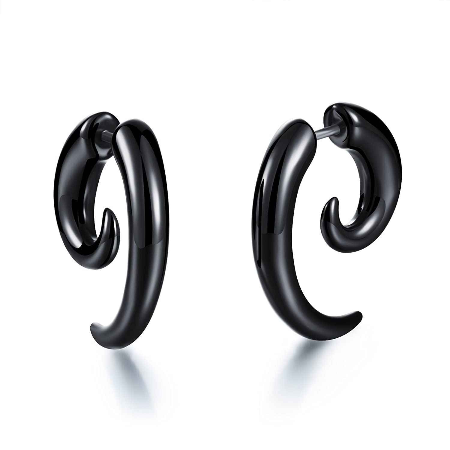 Mintik Jewelry Men's Womens Piercing Black PVC Spiral Snail Plug Earrings MJ-SE-022
