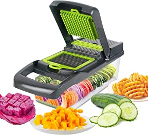 Gorgenius Vegetable Chopper, Onion Chopper Vegetable Slicer with Stainless Steel Blade Include Clean Brush and Use Video Made in USA