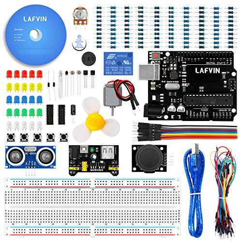LAFVIN The Basic Starter kit for Arduino R3, Breadboard, LED,  Resistor,Jumper Wires and 5V Relay for UNO