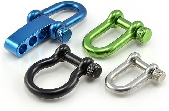Manille droite réglable en acier avec un axe à visser simple à manier, manille en forme de U, manille ajustable, idéale avec les paracordes 550, ...