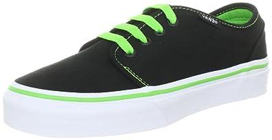 c526e5dc15 Vans 106 Vulcanized Black Green Flash Canvas Trainer Vkv3Bg8 10 UK Junior