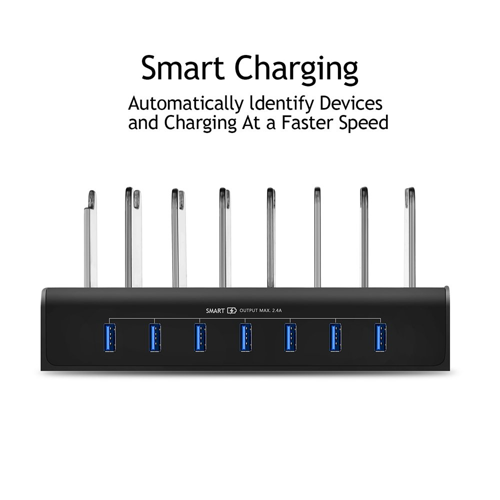 Kisreal USB Charging Station Smart 7-Port Desktop Charging Stand Organizer for iPhone, iPad, Tablets and Other USB-Charged Devices (7) by kisreal (Image #4)