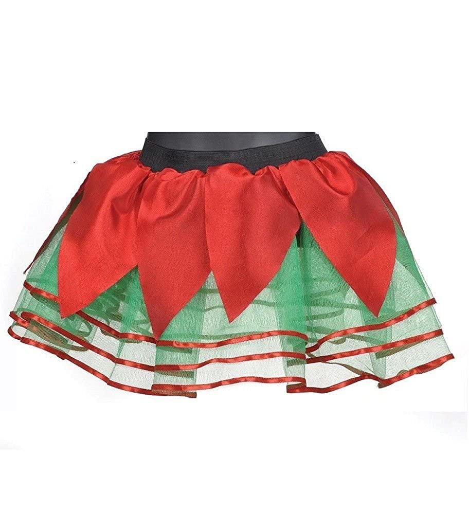 Girlzwalk New Christmas Ladies Tutu Skirt Women Elf Party Wear Red Fancy Green Xmas Skirts