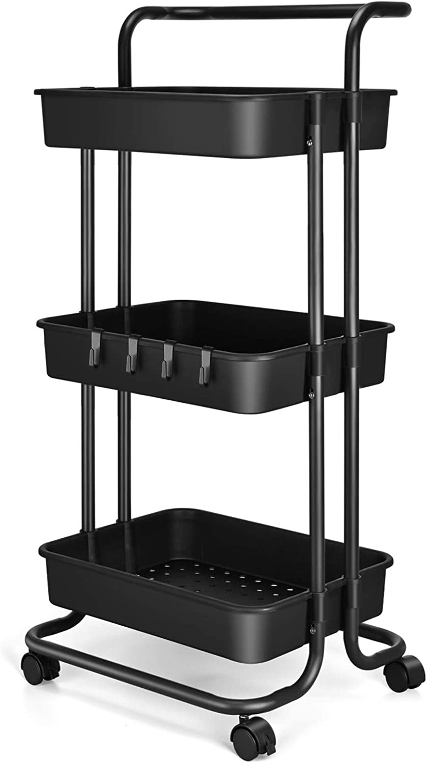 3 Tier Utility Rolling Cart - Organizer Cart Storage Cart Kitchen Cart Makeup Cart 3 Shelf Baby Tray Cart with Trolley Handles and Wheels Suitable for Bathroom Laundry Kids Room Bedroom Office (Black)