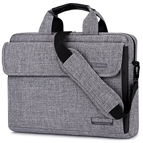 BRINCH Laptop Bag Oxford Fabric Portable Notebook Messenger Bag Shoulder Briefcase Handbag Travel Carrying Sleeve Case w/Shoulder and Luggage Strap for Men Women Compatible 17-17.3 Inch Laptop, Gray