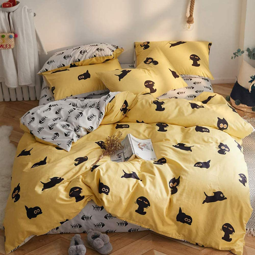 【Newest Arrival】 Yellow Duvet Cover Duvet Cover Queen Cartoon Kitty and Fish Duvet Cover Set Cotton Lightweight Duvet Cover Set Queen Comforter Cover Dustproof Prevent Allergy for Children Teen Adults 61L9toLiLiL