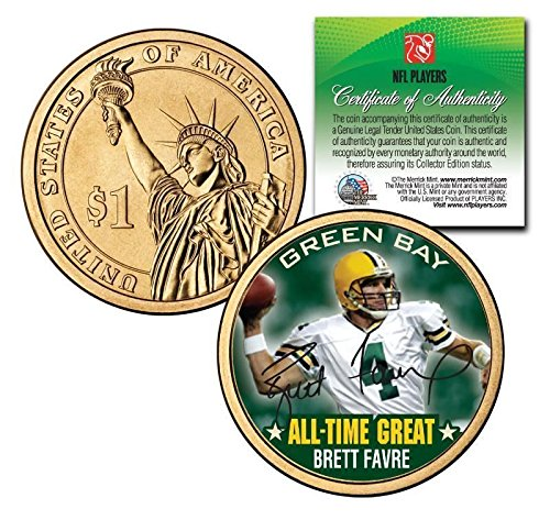 BRETT FAVRE GREEN BAY PACKERS ALL-TIME GREAT SIGNATURE PRESIDENTIAL $1 COIN! COA & DISPLAY STAND! Brett Favre Green Bay Packers