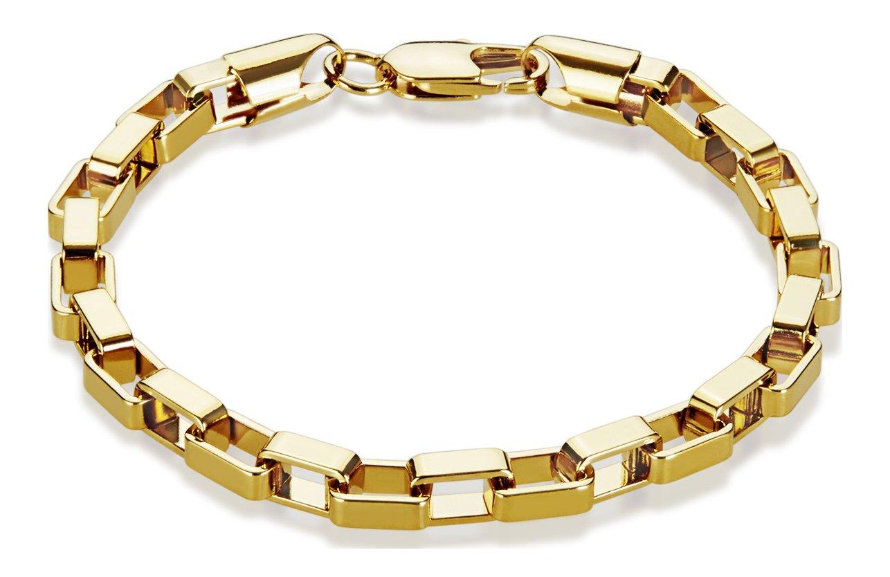 The Bling Factory 5mm 14k Yellow Gold Plated Elongated Squared Box Link Chain Bracelet, 7'' + Jewelry Polishing Cloth