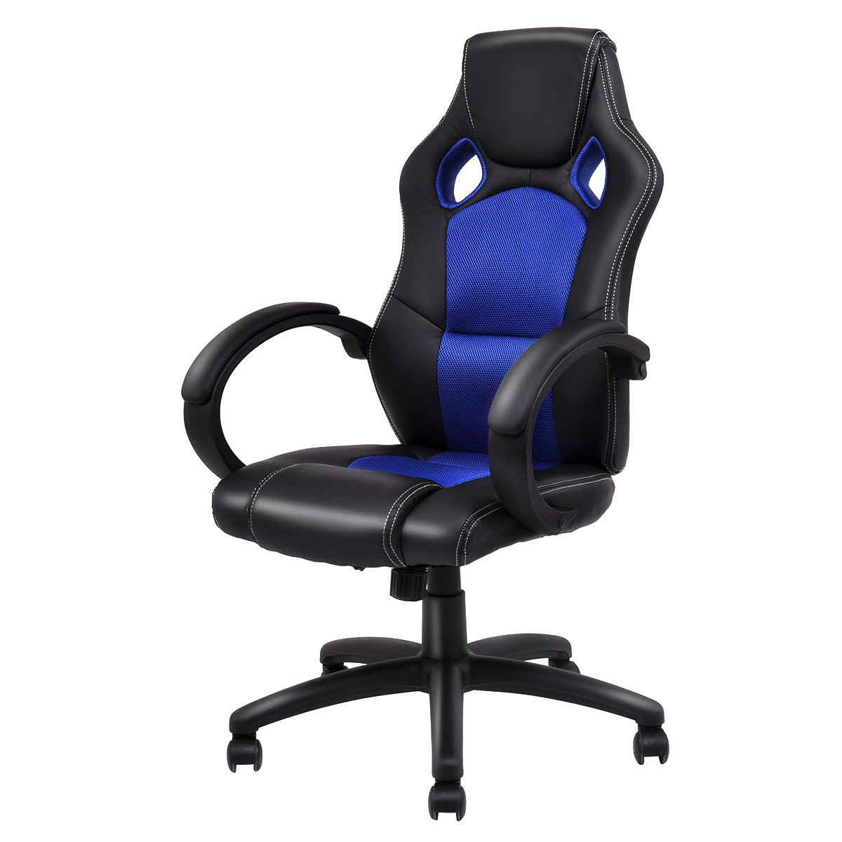 Giantex Gaming Chair Racing Chair High Back Bucket Seat Swivel Executive Office Computer Task Desk Gaming Chair (Style 1, Blue & Black)