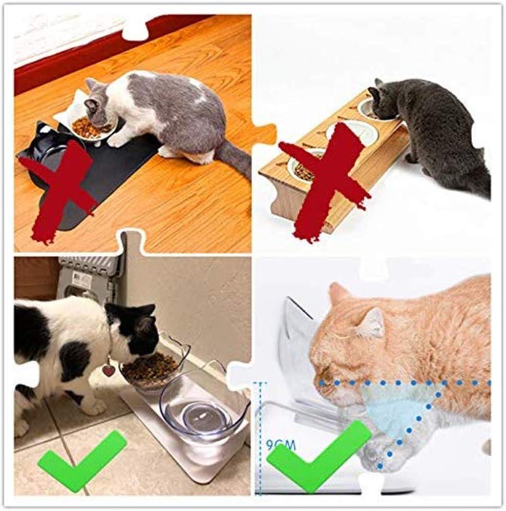 Soltero TETEAI Recipiente ortop/édico para Mascotas antiv/ómito Inclinado 15 /° Antideslizante Recipiente para Agua para Alimentos para Mascotas con Soporte