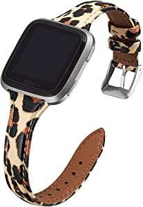 WFEAGL for Versa Band, Top Grain Leather Band Slim & Thin Narrow Small Replacement Wristband Strap for Versa/Versa 2 /Versa Lite/Versa SE Fitness Smart Watch (Leopard Band+Silver Buckle)