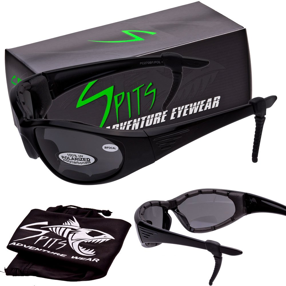 "SPITS Rider Series ""2"" Grey Polarized 3.00 BIFOCAL Sunglasses - With EVA Foam Padding"