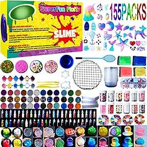 Slime Supplies Kit,155 Pack, Include Jelly Cube, Foam Balls, Glitter Jars, Fruit Flower Animal Slices, Pearls, Slime Tools for DIY Slime Making, Homemade Slime, Girl Slime Party