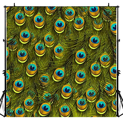 Peacock Feather Pattern Stylish Photography Backdrop for Ladies Makeup, 6x6FT, Green Peacock Decor Pictures Background, Photo Booth Studio Props LYLU922 -