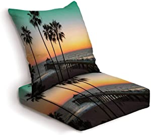 2-Piece Outdoor Deep Seat Cushion Set Palm trees and pier at sunset on Los Angeles Beach Vintage processed Back Seat Lounge Chair Conversation Cushion for Patio Furniture Replacement Seating Cushion