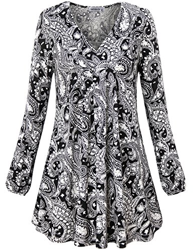 MOQIVGI Floral Tunic,Ladies V Neck Full Sleeve Feminine Blouse Fitted Babydoll Modal Shirt Fashionable Boutique Jean Tops for Women Black X-Large