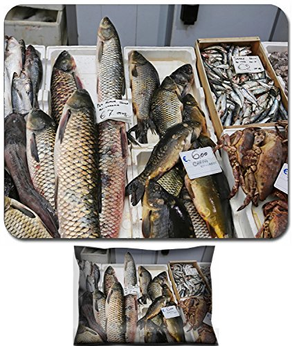 Luxlady Mouse Wrist Rest and Small Mousepad Set, 2pc Wrist Support design IMAGE: 34207525 Fish and seafood market stall in Italy (Best Seafood In Italy)