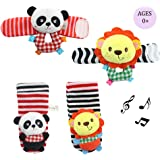 Daisy Infant Baby Soft Plush 4 Animal Wrists Rattle and Foot Finder Socks Set Best Gift Early Educational Development Toy for Boys and Girls - Lion and Panda