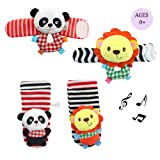 Amazon Price History for:Daisy Infant Baby Soft Plush 4 Animal Wrists Rattle and Foot Finder Socks Set Best Gift Early Educational Development Toy for Boys and Girls - Lion and Panda