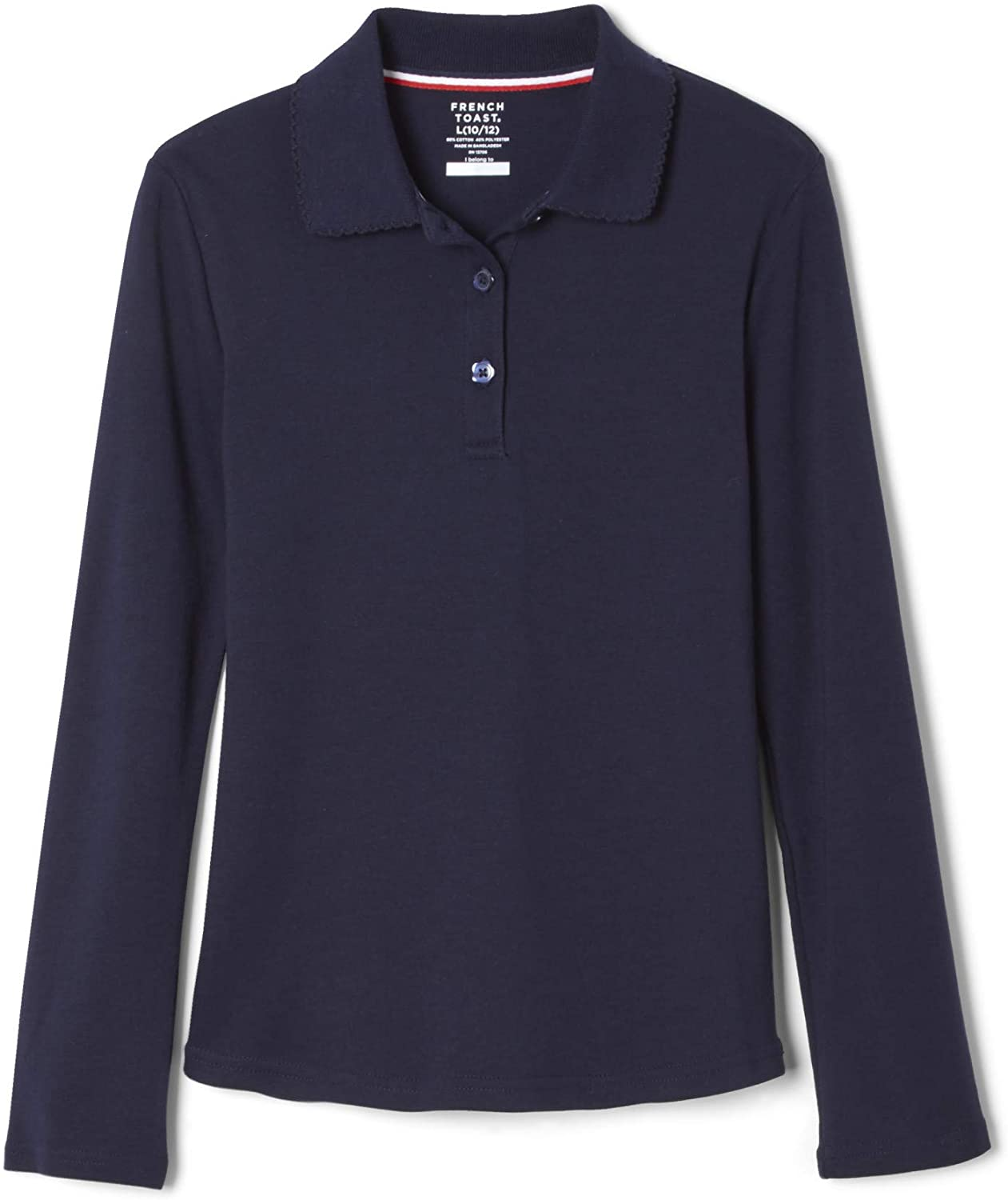OshKosh BGosh Girls Navy Long Sleeve Polo Uniform Shirt 10