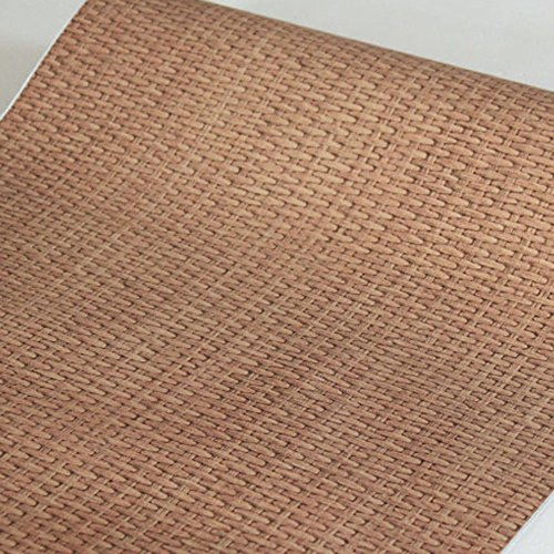 SimpleLife4U Light Brown Weave Wood Grain Contact Paper Self-Adhesive Shelf Liner Door Sticker 17.7 Inch by 9.8 Feet