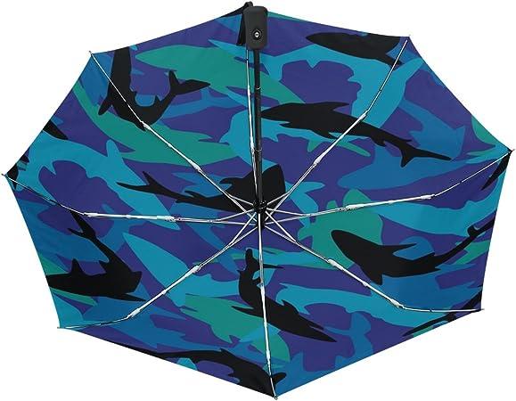 icyflower Paraguas plegable con rayas reflectantes de pez tiburón bonito personalidad de pie doble capa: Amazon.es: Jardín