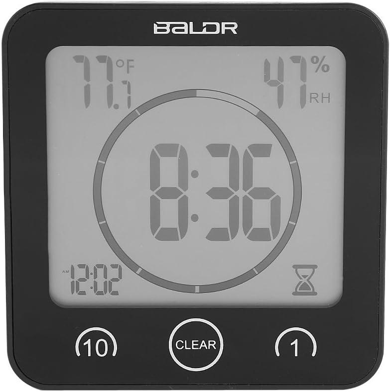 Bianco Cafopgrill Orologio da Bagno Parez Orologio con Ventosa Digitale Orologio Temperatura di umidit/à con Ampio Display LCD Termometro Impermeabile