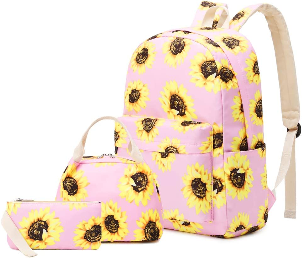 """Lmeison Floral Backpack for Wemen Girls, Sunflower College Bookbag with Lunch Bag and Pencil Case, Lightweight and Waterproof, Travel Daypack 15"""" Laptop Bag for School, Pink"""