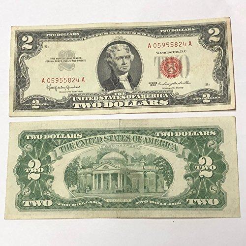 1963 Mixed VINTAGE TWO DOLLAR BILL $2 US Mint Circulated - Seal Dollar Bill