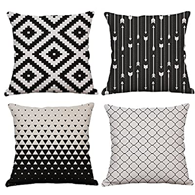 YeeJu Set of 4 Geometric Decorative Throw Pillow Covers Square Cotton Linen Cushion Covers Outdoor Sofa Home Pillow Covers 18x18 Inch - ELEVATE YOUR ROOM DECOR! Let these attractive geometric throw pillow covers add a freshness, dynamic, fashionable and cozy feel to your life atmosphere. Definitely these amazing 18X18 Inches throw pillow covers will be your Home Highlights! YOUR COMFORT IS OUR TOP NOTCH! With fantastic moisture absorption and wet dissipation, our 100% natural cotton linen is the perfect fabric for cushion cover or sofa throw pillow cases. As the premium comfort eco-friendly material, it offering the most restful relaxation, breathable cool touch in summer and warm touch in winter. DETAILS HIGHLIGHT THE QUALITY! Soft, breathable, textured made with color matching, invisible zipper, allows easy insertion and removal of pillow inserts. All fabric edges are sewn with overlock stitch to prevent fray and ensure the cushion case holds shape over time.Printed with healthy and environment friendly water-based ink, unfading, no stimulation to skin. - living-room-soft-furnishings, living-room, decorative-pillows - 61L9x%2BycZkL. SS400  -