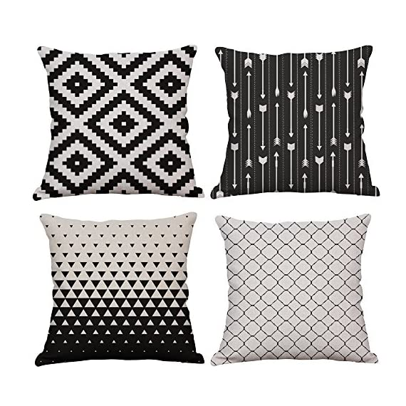 YeeJu Set of 4 Geometric Decorative Throw Pillow Covers Square Cotton Linen Cushion Covers Outdoor Sofa Home Pillow Covers 18x18 Inch - ELEVATE YOUR ROOM DECOR! Let these attractive geometric throw pillow covers add a freshness, dynamic, fashionable and cozy feel to your life atmosphere. Definitely these amazing 18X18 Inches throw pillow covers will be your Home Highlights! YOUR COMFORT IS OUR TOP NOTCH! With fantastic moisture absorption and wet dissipation, our 100% natural cotton linen is the perfect fabric for cushion cover or sofa throw pillow cases. As the premium comfort eco-friendly material, it offering the most restful relaxation, breathable cool touch in summer and warm touch in winter. DETAILS HIGHLIGHT THE QUALITY! Soft, breathable, textured made with color matching, invisible zipper, allows easy insertion and removal of pillow inserts. All fabric edges are sewn with overlock stitch to prevent fray and ensure the cushion case holds shape over time.Printed with healthy and environment friendly water-based ink, unfading, no stimulation to skin. - living-room-soft-furnishings, living-room, decorative-pillows - 61L9x%2BycZkL. SS570  -
