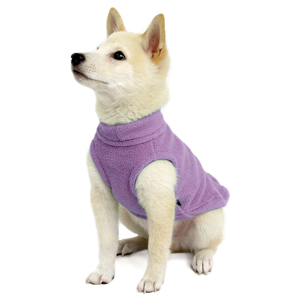 Gooby Stretch Fleece Pull Over Cold Weather Dog Vest, Lavender, Small