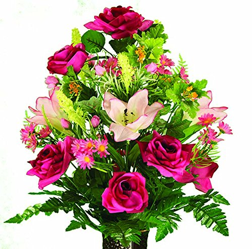Amaryllis Vase - Fuchsia Roses and Amaryllis Artificial Bouquet, featuring the Stay-In-The-Vase Design(c) Flower Holder (MD1289)