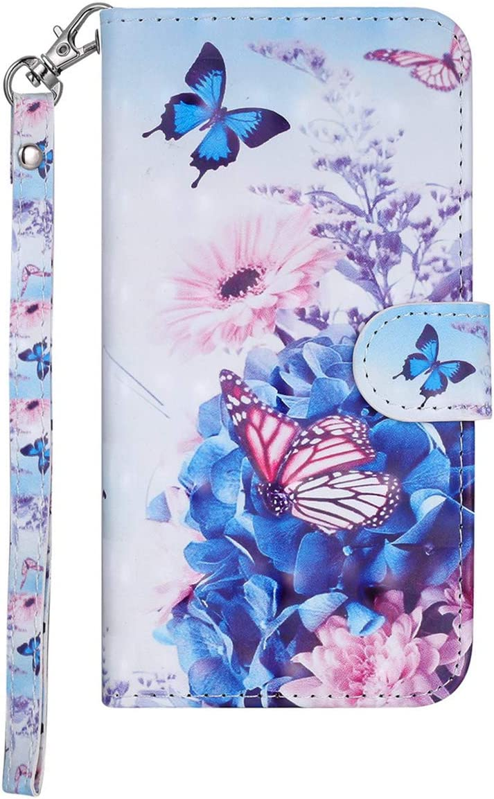 BtDuck Compatible with Galaxy J6 2018 Samsung J6 2018 Leather Wallet Case 3D Cover Shockproof Cards Holder Flip Phone Protective Case Butterfly Purple Cover 3D Butterfly