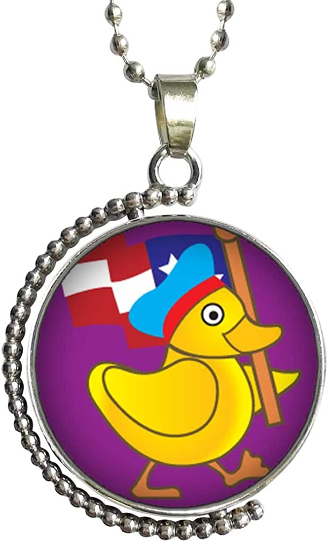 GiftJewelryShop American Duck Walking Glass Cabochon Rotatable Lucky Pendant Necklace