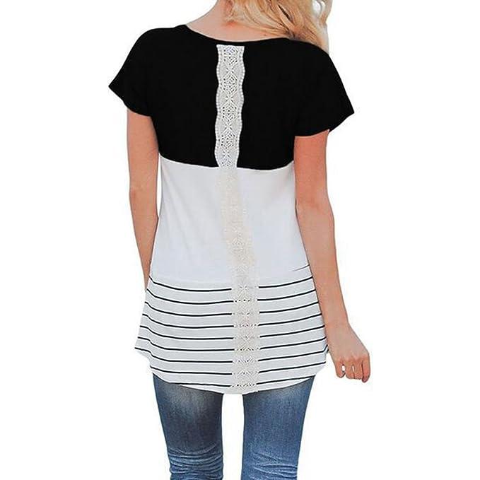 Zhien Nursing Shirts Mujeres Embarazadas de Encaje tee Top Ropa de Maternidad Lactancia Camiseta Negro XL