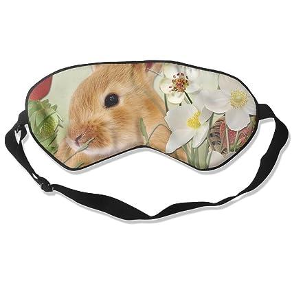Cómoda máscara de dormir con estampado de conejos para viajar, noche, mediación, yoga