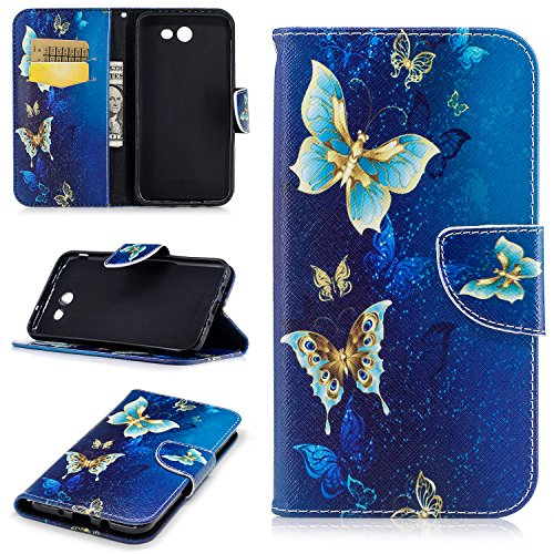 Samsung J7 Case for Women, Samsung Galaxy J7 Perx Wallet Case,Folio Flip PU Leather Galaxy J7 Cell Phone Case Card Slot Samsung Galaxy J7 Prime Case Cover for Samsung J7 2017/J7 Sky Pro-Blue Butterfly