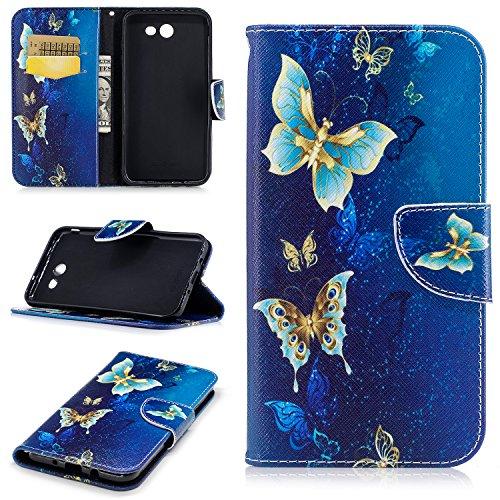 Samsung J7 Case for Women, Samsung Galaxy J7 Perx Wallet Case,Folio Flip PU Leather Galaxy J7 Cell Phone Case Card Slot Samsung Galaxy J7 Prime Case Cover for Samsung J7 2017/J7 Sky Pro-Blue Butterfly