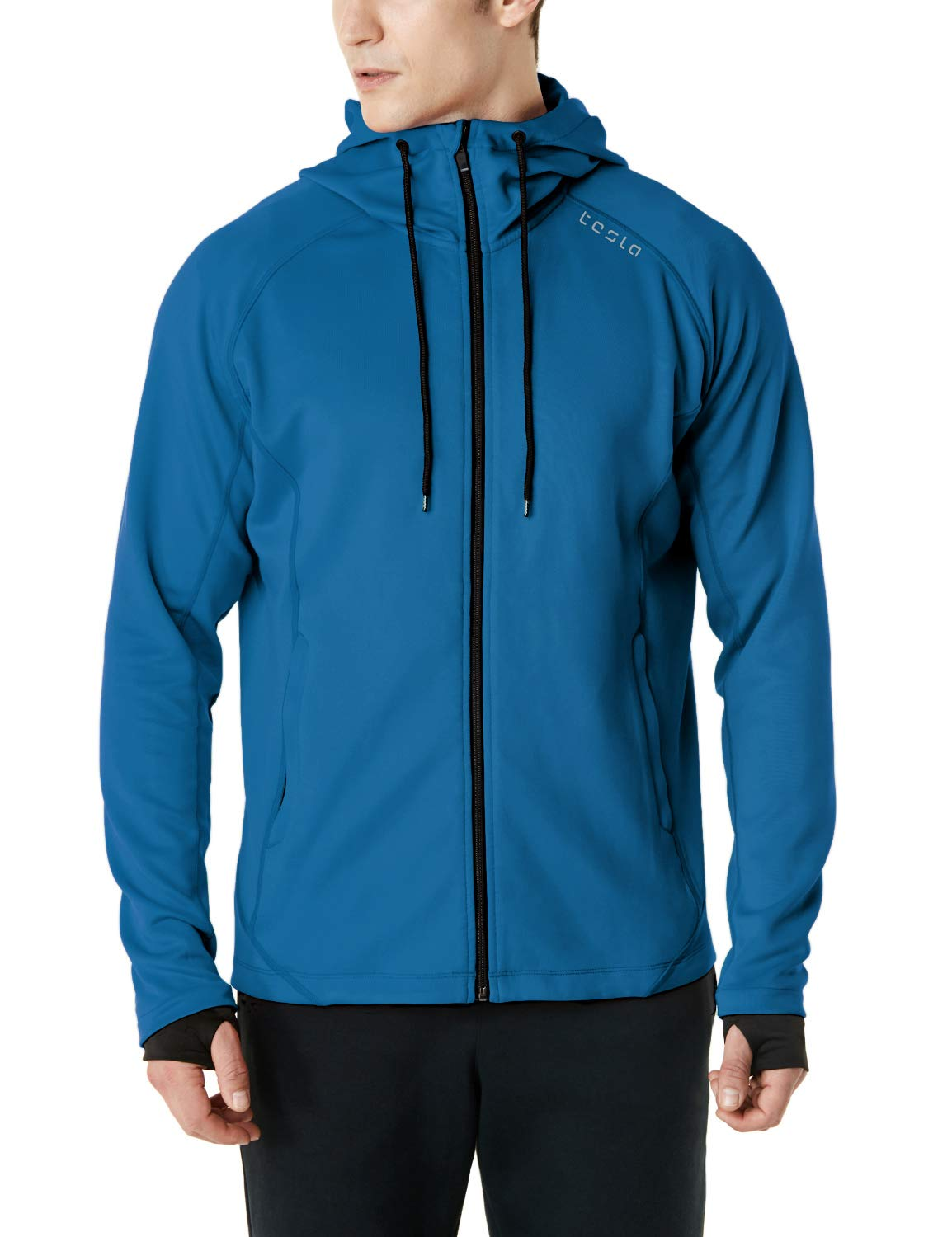 TSLA Men's Performance Active Training Full-Zip Hoodie Jacket, Active Fullzip(mkj03) - Deep Blue, XX-Large by TSLA