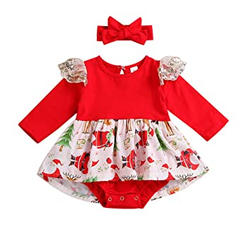 d42adfe2b Amazon.com   Newborn Baby Girl Christmas Lace Romper Bodysuit Tutu ...