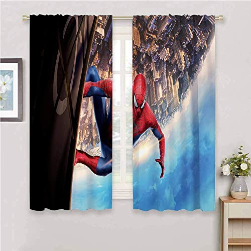 Zmcongz Black Out Window Curtain 2 Panel Spiderman Curtain