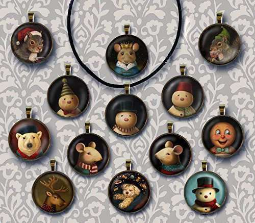 Christmas Necklace - Christmas Pendant - Animal Portrait Brooch - Mouse - Squirrel - Snowman - Polar Bear - (Victorian Bears Stocking)