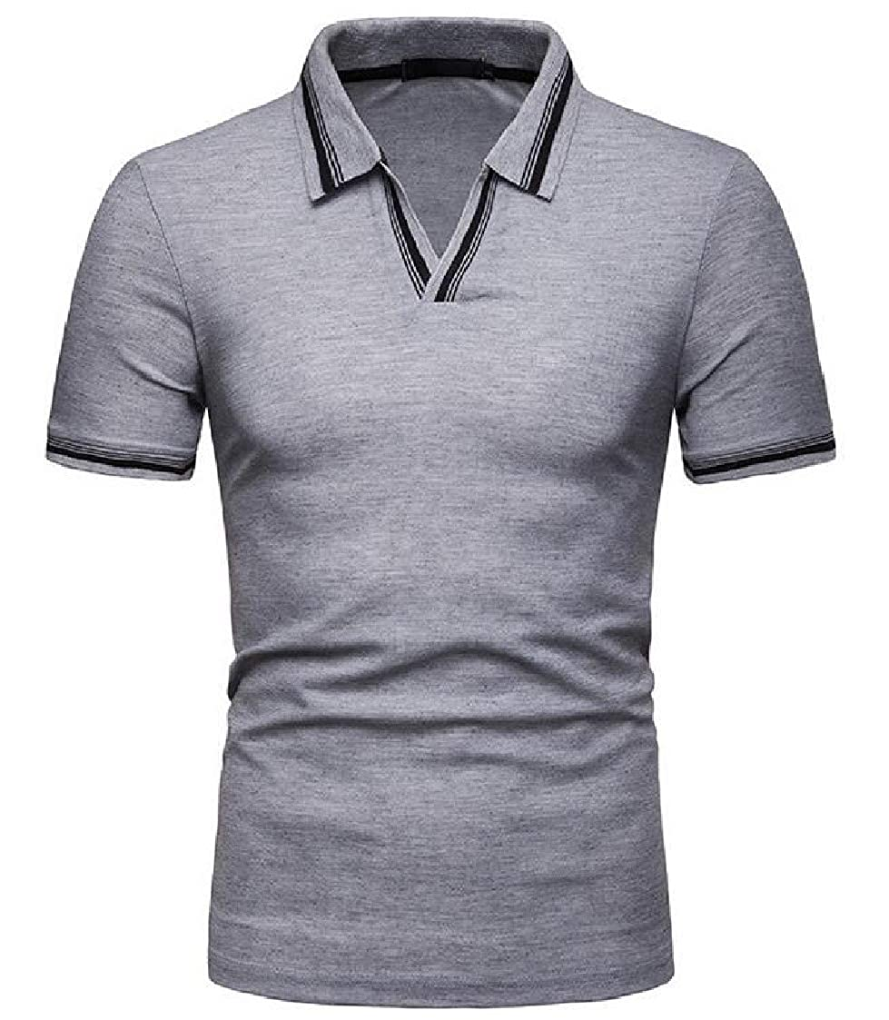 Nanquan Men Stylish Summer V-Neck Baggy Short Sleeve Casual Polo Shirt