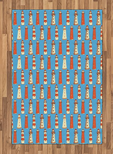 Lighthouse Area Rug by Ambesonne, Retro Sketch Style Cute Architecture Elements Marine Ornament Vintage, Flat Woven Accent Rug for Living Room Bedroom Dining Room, 4 x 6 FT, Vermilion Blue Cream (Vermilion Wood Lighthouse)