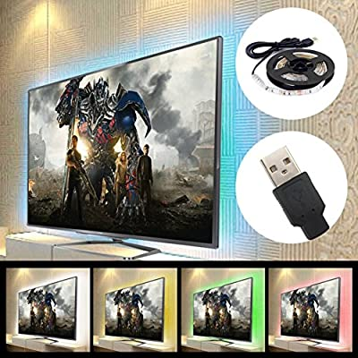 "Sinkepoze USB Powered LED Strip Light TV Background Lighting for Flat Screen HDTV LCD Desktop PC Monitor (2X19.7"", Waterproof)"