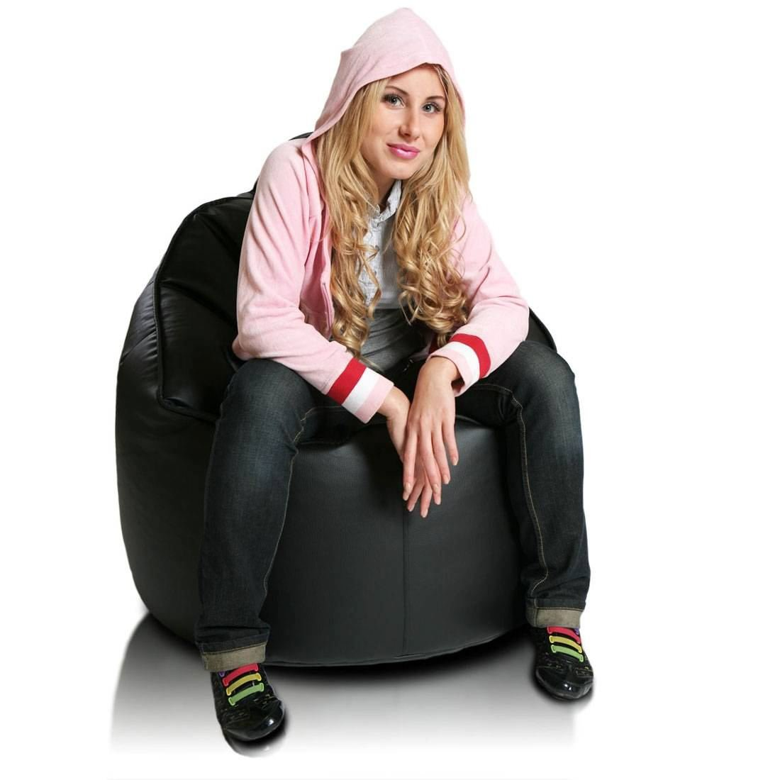 Turbo BeanBags Leader Large Bean Bag Chair, Medium, Black