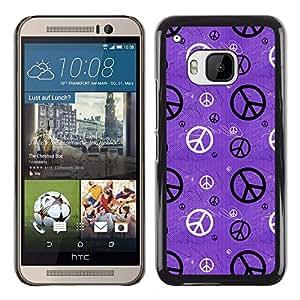 KOKO CASE / HTC One M9 / hippie símbolo wallpaper paz arte / Delgado Negro Plástico caso cubierta Shell Armor Funda Case Cover