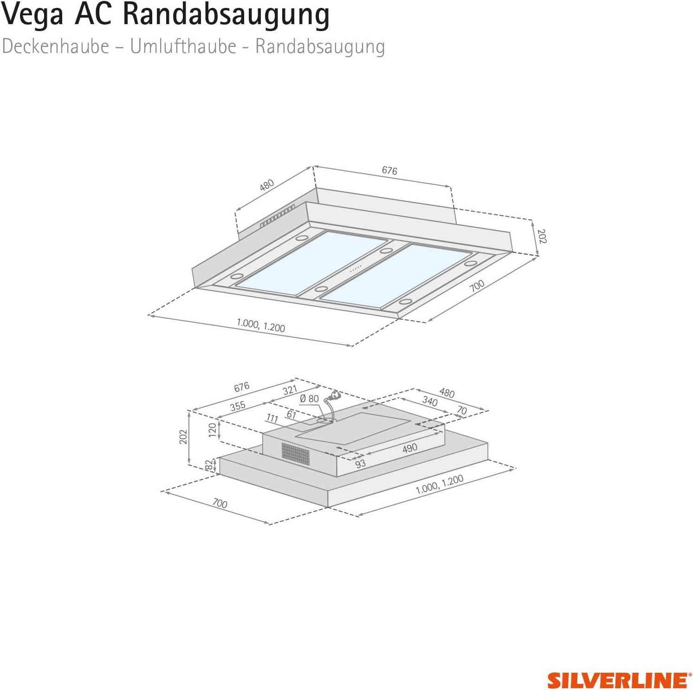 Silverline VGUD 104.1 SRA Vega AC - Campana extractora de techo (100 cm, conforme a la normativa de la UE 65 y 2014): Amazon.es: Grandes electrodomésticos